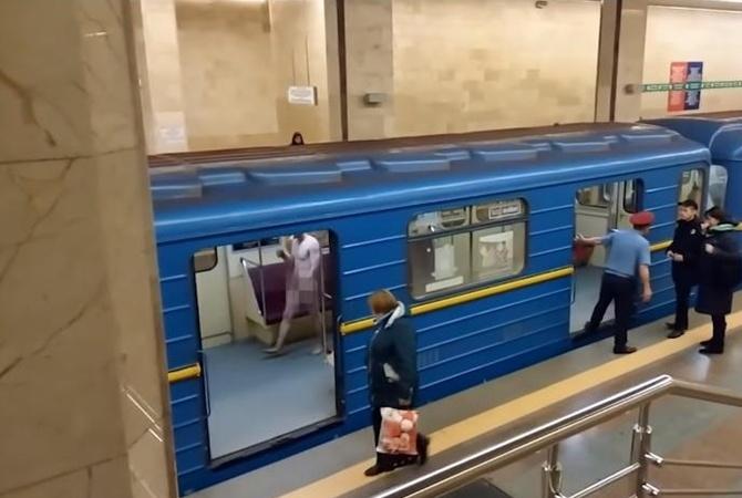 ВКиеве голый мужчина пытался угнать поезд вметро