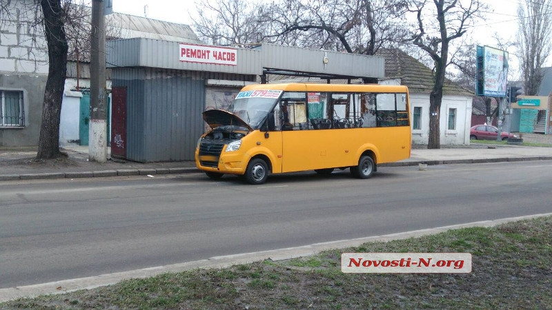 Николаевская маршрутка с пассажирами в салоне загорелась на ходу (фото)