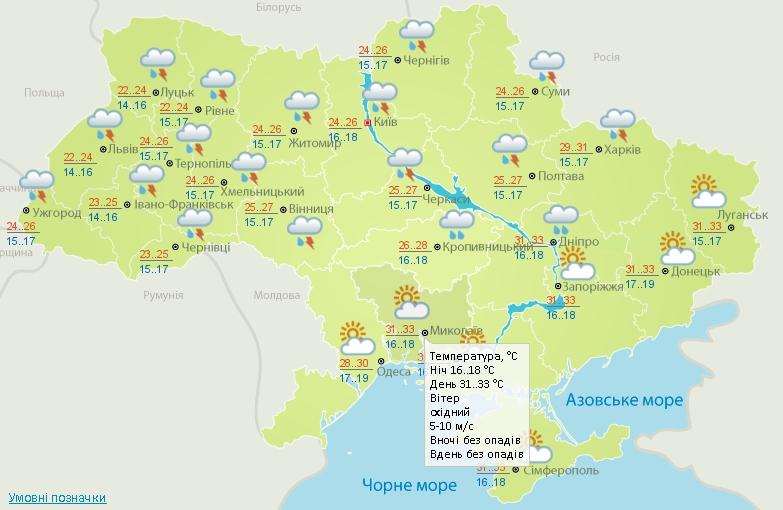 В пятницу в Николаеве будет солнечно и до +33º