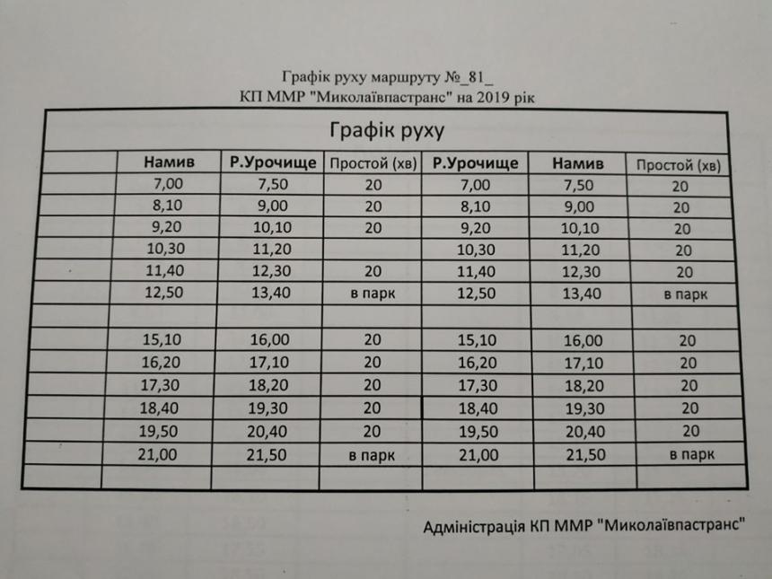 Появилось расписание движения новых автобусов по Николаеву. График