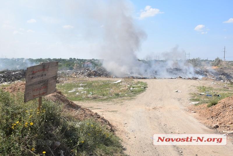 Под Николаевом горит мусорная свалка — пожар никто не тушит