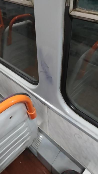 В Николаеве вандалы изрисовали салон трамвая
