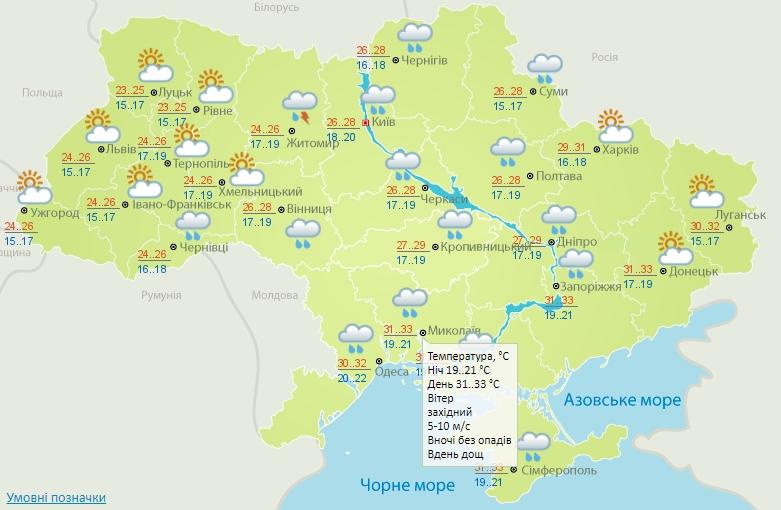 До +33º и дожди: погода на Николаевщине во вторник