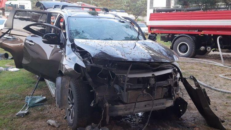На базе отдыха взорвался автомобиль с мужчиной внутри