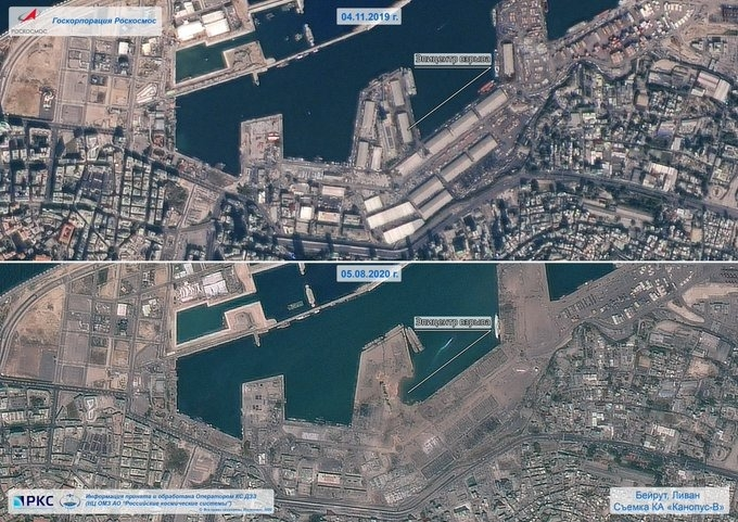 В сети показали последствия взрыва в столице Ливана — вид из космоса