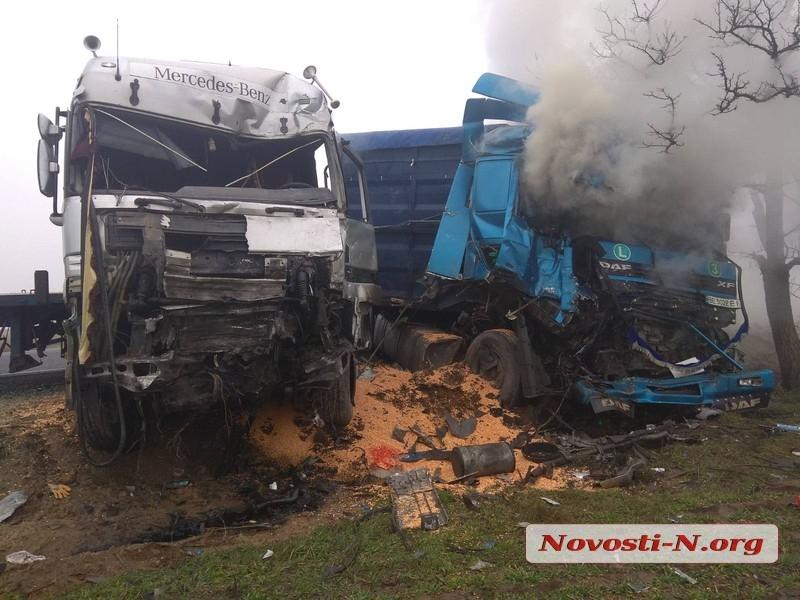 На трассе под Николаевом лоб в лоб столкнулись две фуры: возник пожар, пострадали оба водителя