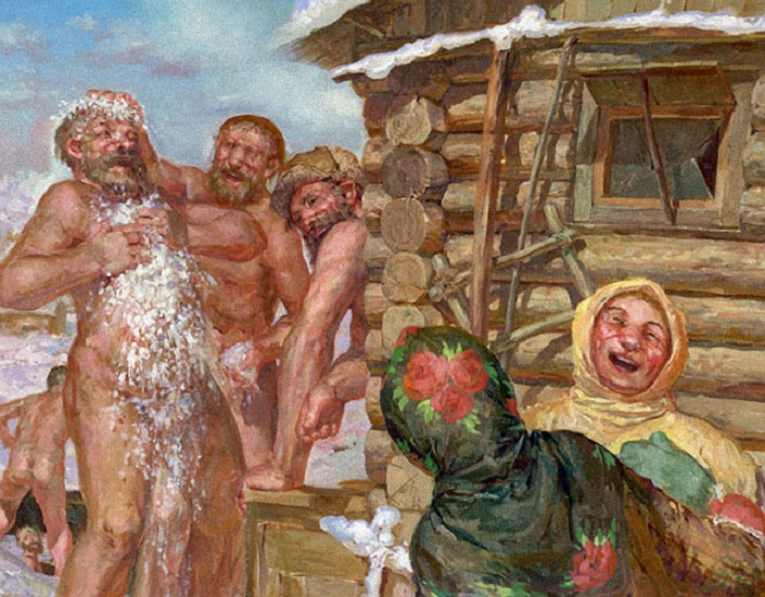 Скромная моющаяся в бане трахают одежде видео