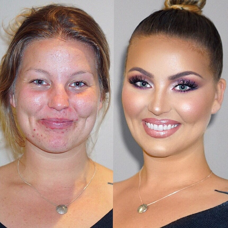Сила макияжа фото до и после