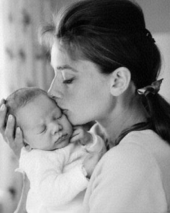 udrey Hepburn with her son. 1960