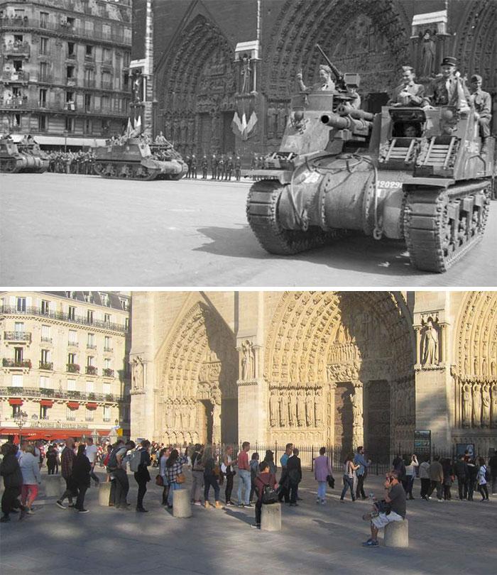 16 любопытных фото «тогда и сейчас»: как выглядели улицы городов мира в 40-х. ФОТО