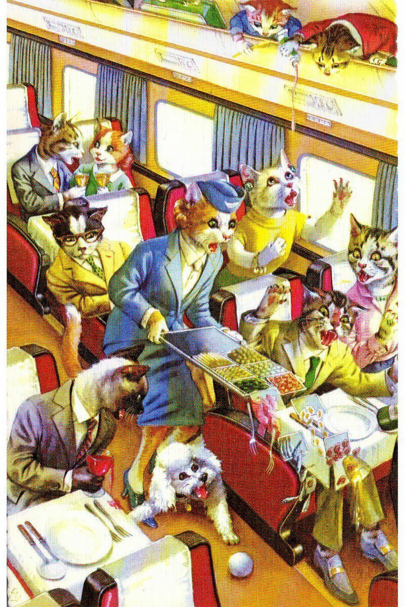 Очаровательные открытки про котиков из 1950-х
