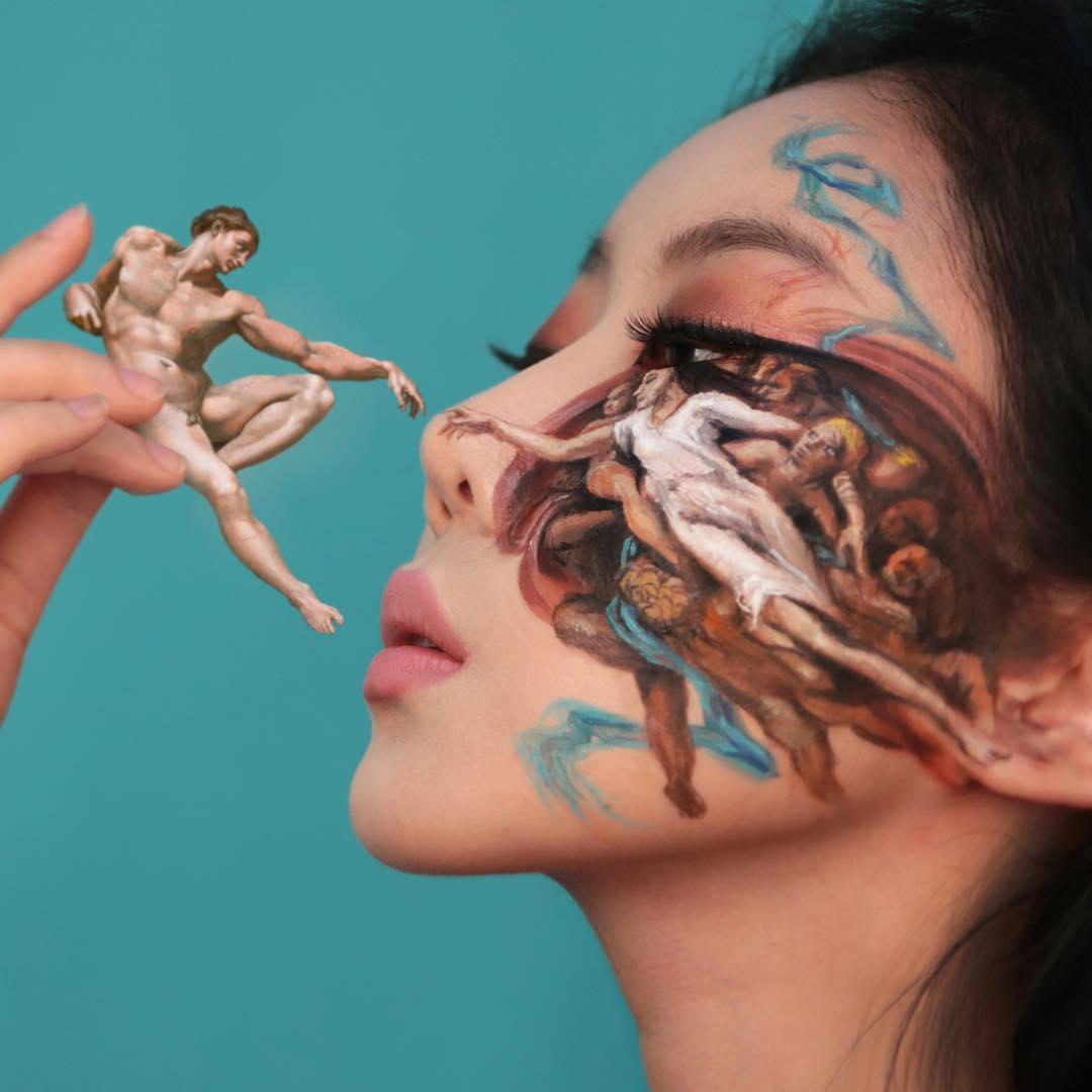 Художница создаёт впечатляющие оптические иллюзии на своём лице