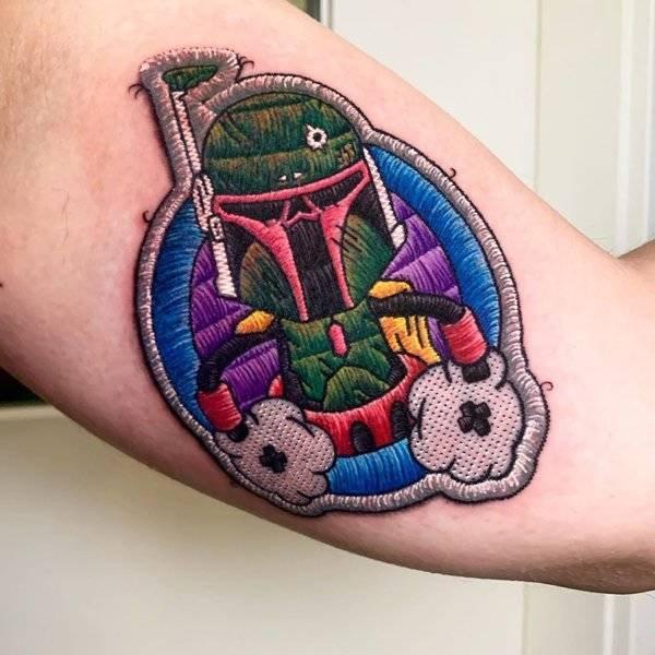 Татуировки с вышитыми персонажами фильмов, комиксов и видеоигр
