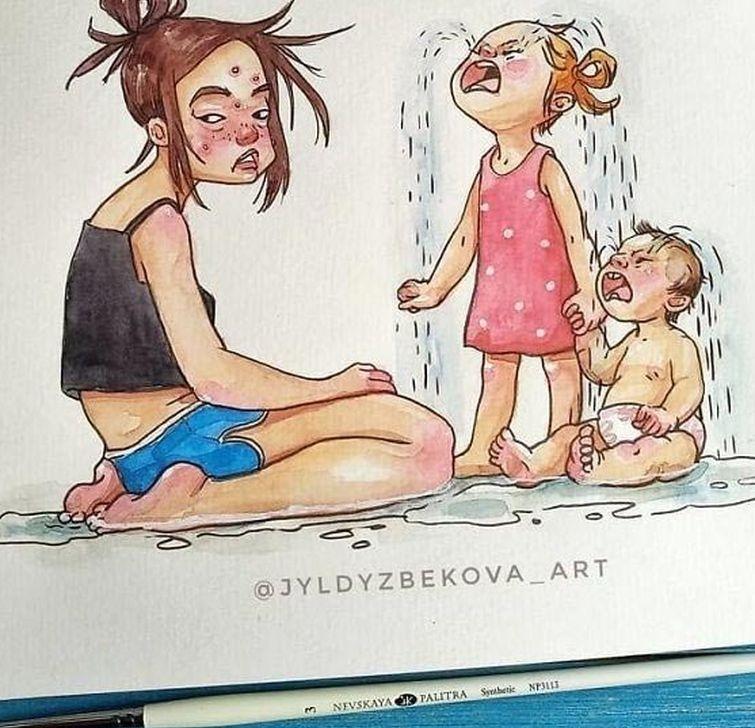 Художница рисует повседневную жизнь с детьми. ФОТО