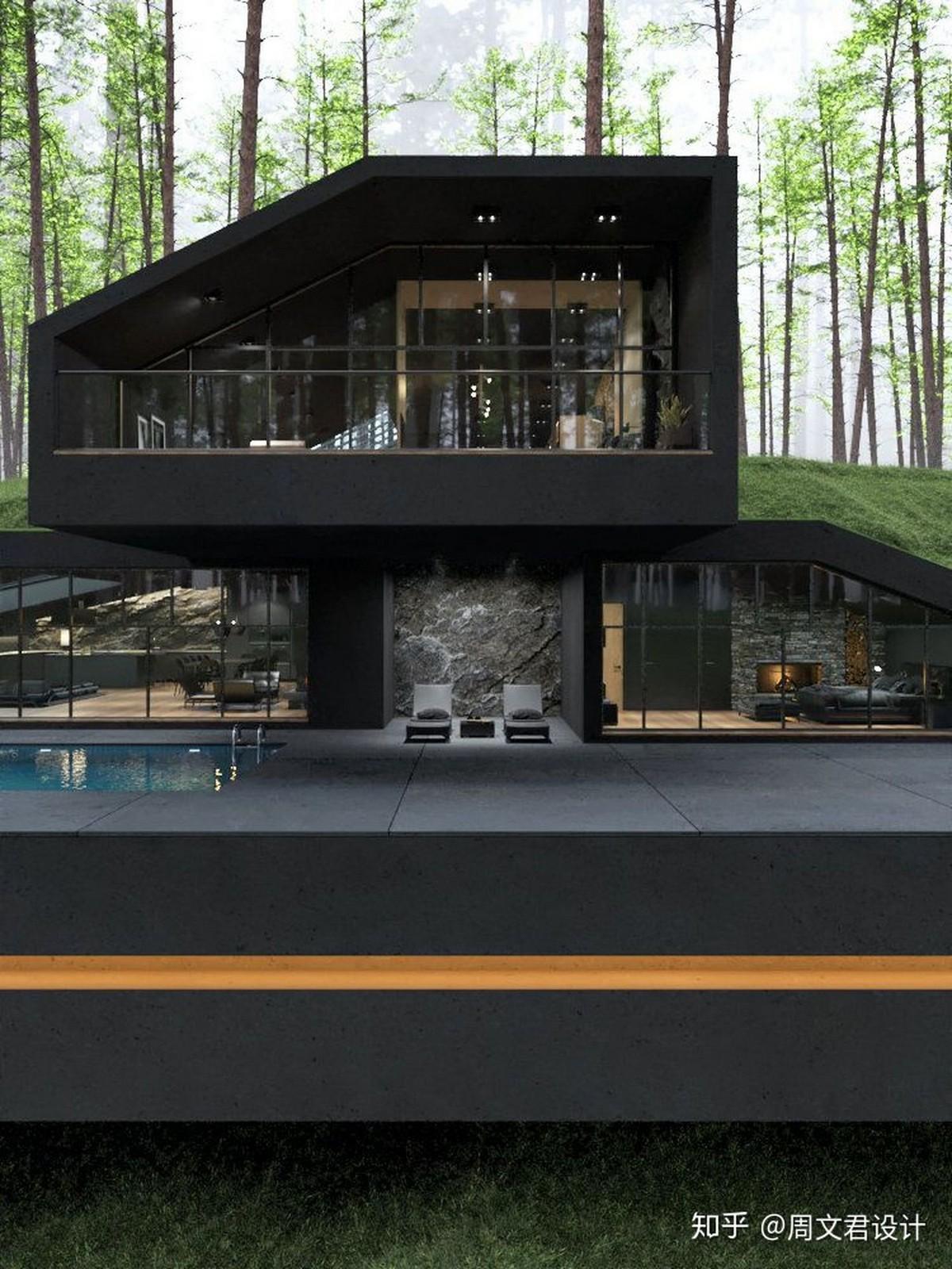Концептуальный проект виллы в лесу штата Нью-Йорк